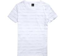 Herren T-Shirt Baumwolle -hellblau gestreift
