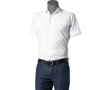 Herren Hemd Slim Fit Stretch-Popeline weiß