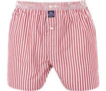 Herren Unterwäsche Boxershorts, Baumwolle, rot-weiß gestreift