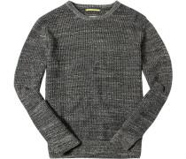 Herren Pullover Baumwolle graubraun meliert