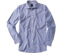 Herren Hemd, Popeline, blau-weiß kariert