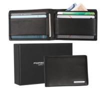 Herren Geldbörse Geschenk-Box , Leder, schwarz