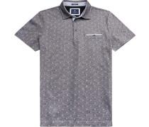 Herren Polo-Shirt, Modern Fit, Baumwoll-Pique, navy gemustert blau