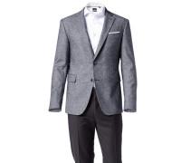 Herren Sakko Slim Fit Baumwoll-Woll-Stretch blau-weiß gemustert
