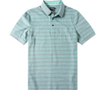 Herren Polo-Shirt Baumwoll-Piqué grün gestreift blau