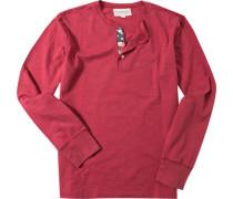 Herren T-Shirt Longsleeve Baumwolle rot meliert