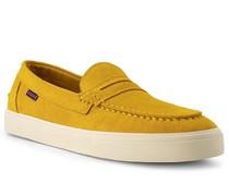 Schuhe Slipper Veloursleder senf