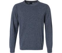 Herren Pullover, Modern Fit, Schurwolle-Seide, blau meliert