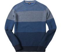 Herren Pullover, Wolle, rauchblau-navy gestreift