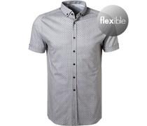 Kurzarmhemd Jersey greige-weiß gemustert