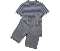 Herren Schlafanzug Pyjama Baumwolle grau-blau gestreift
