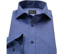 Herren Hemd, Slim Fit, Baumwolle, blau gemustert