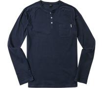 Herren T-Shirt Longsleeve Baumwolle marine