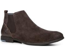 Herren Schuhe Chelsea-Boots, Veloursleder, dunkelbraun