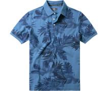 Herren Polo-Shirt Baumwoll-Piqué indigo gemustert