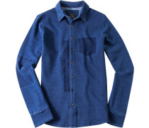 Herren Hemd, Slim Fit, Sweat, indigo blau