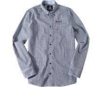 Herren Hemd, Twill, weiß-blau kariert