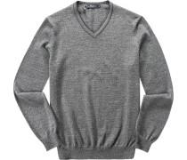 Herren Pullover Modern Fit Merinowolle extrafein grau meliert