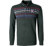 Pullover Troyer Wolle  gemustert