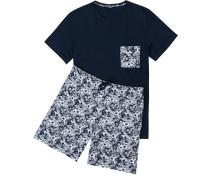 Herren Schlafanzug Pyjama kurz Baumwolle navy gemustert blau
