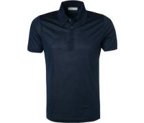 Polo-Shirt, Seide-Jersey, navy meliert