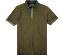Herren Polo-Shirt, Baumwoll-Piqué, khaki gestreift grün