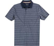 Herren Polo-Shirt, Baumwolle mercerisiert, rauchblau gestreift