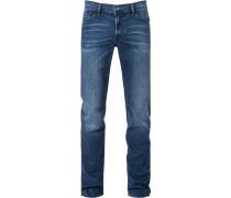 Herren Jeans, Straight Fit, Baumwolle, indigo blau