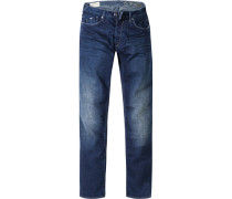 Herren Jeans Straight Fit Baumwoll-Stretch denim blau