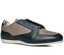 Herren Schuhe Sneakers Leder blau-grau