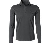 Herren Polo-Shirt Baumwoll-Jersey anthrazit meliert grau