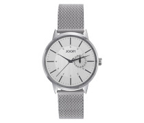 Herren Uhren Armbanduhr, Edelstahl, silber grau