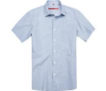 Herren Hemd Classic Fit Popeline blau gemustert