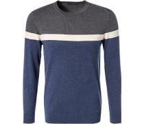 Pullover Baumwolle-Kaschmir grau- gestreift