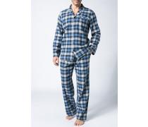 Herren Schlafanzug Flanell-Pyjama Baumwolle blau kariert