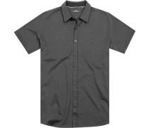 Herren Hemd Jersey dunkelgrau meliert