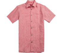 Herren Hemd, Classic Fit, Leinen, rot meliert