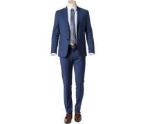 Herren Sakko Fitted Wolle Super100 blau meliert