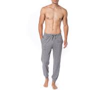 Herren Pyjamahose Baumwolle grau gemustert