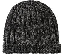Herren   Mütze Seiden-Mix schwarz-grau meliert