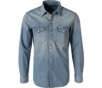 Herren Hemd, Slim Fit, Jeans, hellblau