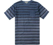 Herren T-Shirt Baumwolle navy gestreift blau