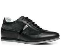 Herren Schuhe Sneaker Glatt-Veloursleder schwarz schwarz,weiß