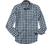 Herren Hemd, Regular Fit, Baumwolle, blau-weiß