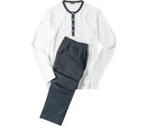 Herren Schlafanzug Pyjama Baumwoll-Mix off white-denim weiß