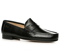 Herren Schuhe Slipper, Kalbnappaleder, schwarz