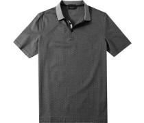 Herren Polo-Shirt Baumwoll-Piqué nacht gemustert