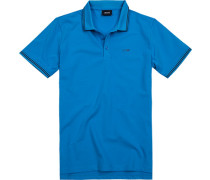 Herren Polo-Shirt, Baumwoll-Pique, azurblau