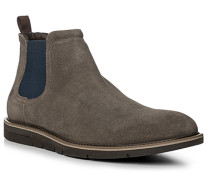 Herren Schuhe Chelsea Boots, Veloursleder, grau