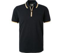 Polo-Shirt Zip-Polo Baumwoll-Piqué nacht